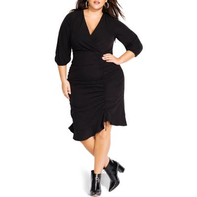 Plus Size City Chic Side Ruched Surplice Dress, Black