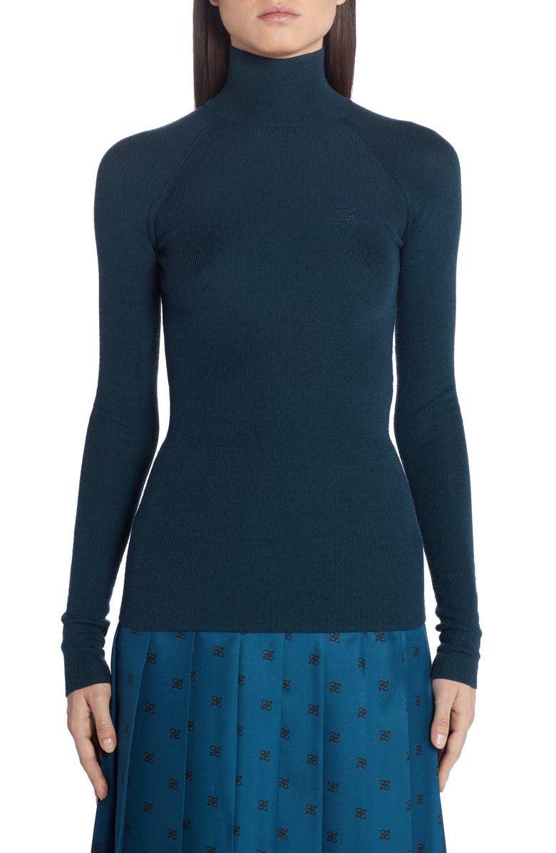 FENDI High Neck Rib Wool Blend Sweater, Main, color, F19EJ NAVY