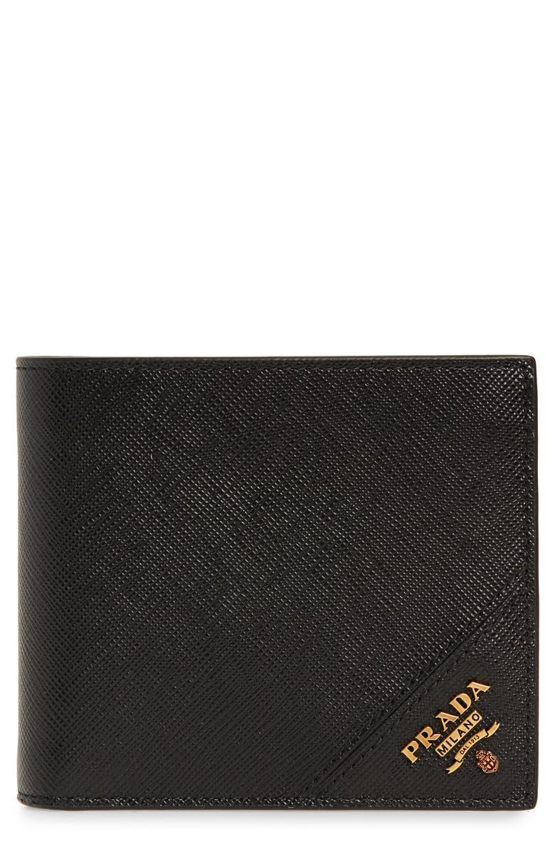 PRADA Saffiano Leather Billfold Wallet, Main, color, NERO 1