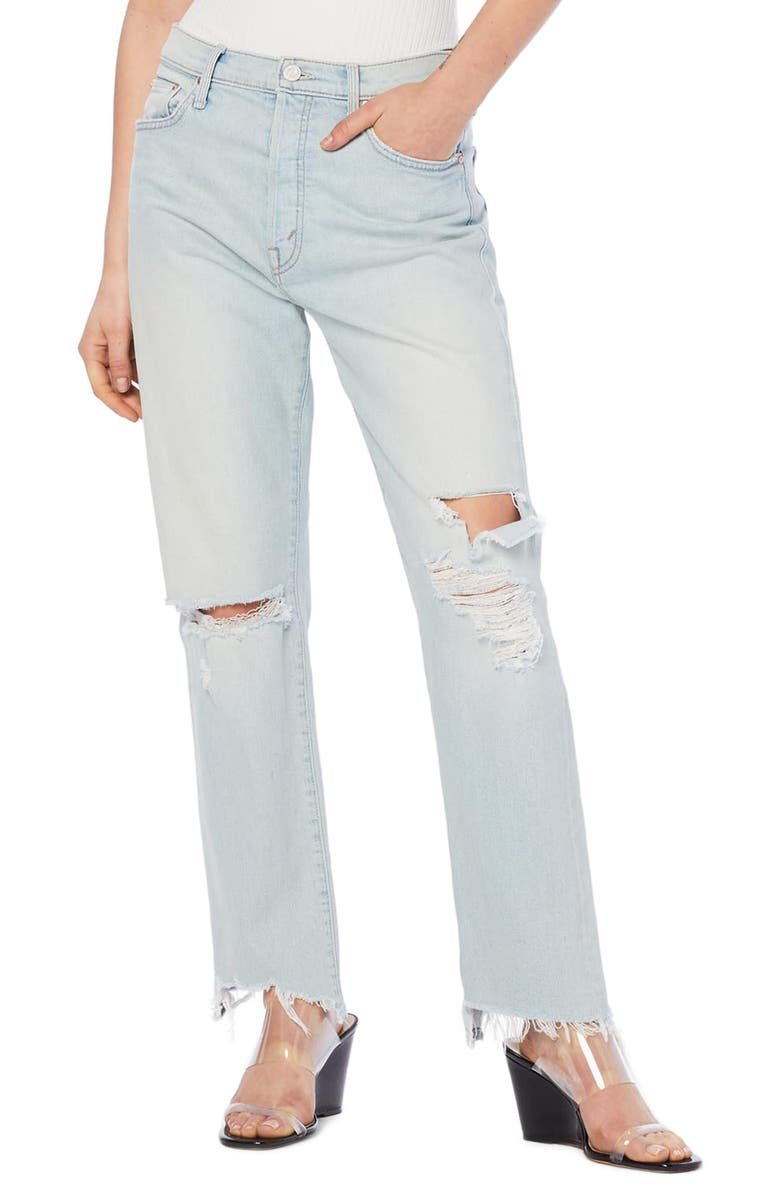 MOTHER The Huffy Flood High Waist Ripped Straight Leg Jeans, Main, color, 451