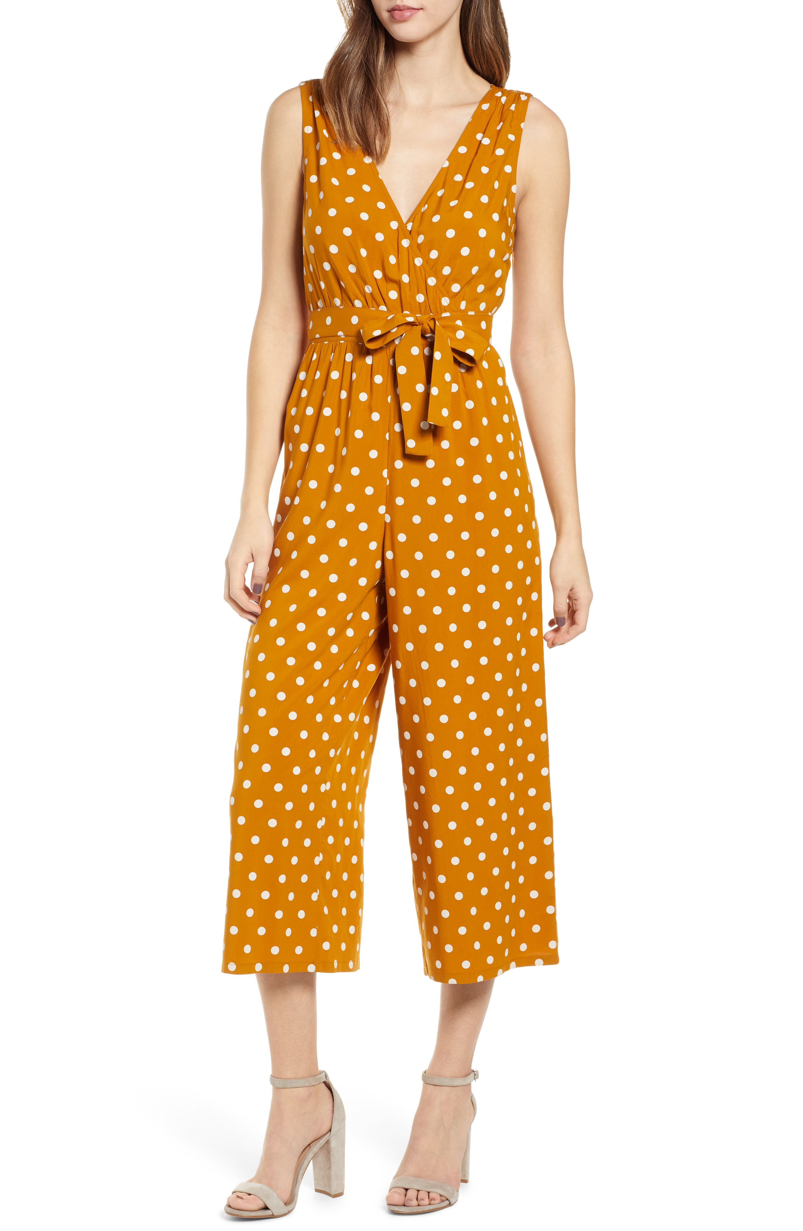 ,                             Polka Dot Jumpsuit,                             Main thumbnail 1, color,                             BROWN BUCKTHORN POLKA DOT