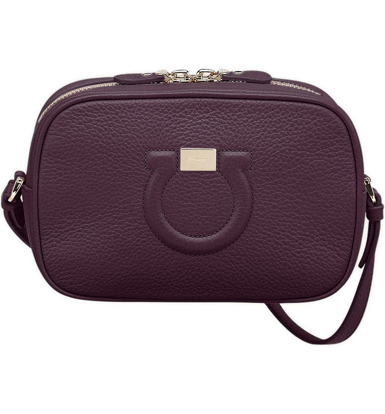 SALVATORE FERRAGAMO Gancio Leather Camera Bag, Main, color, NEBBIOLO