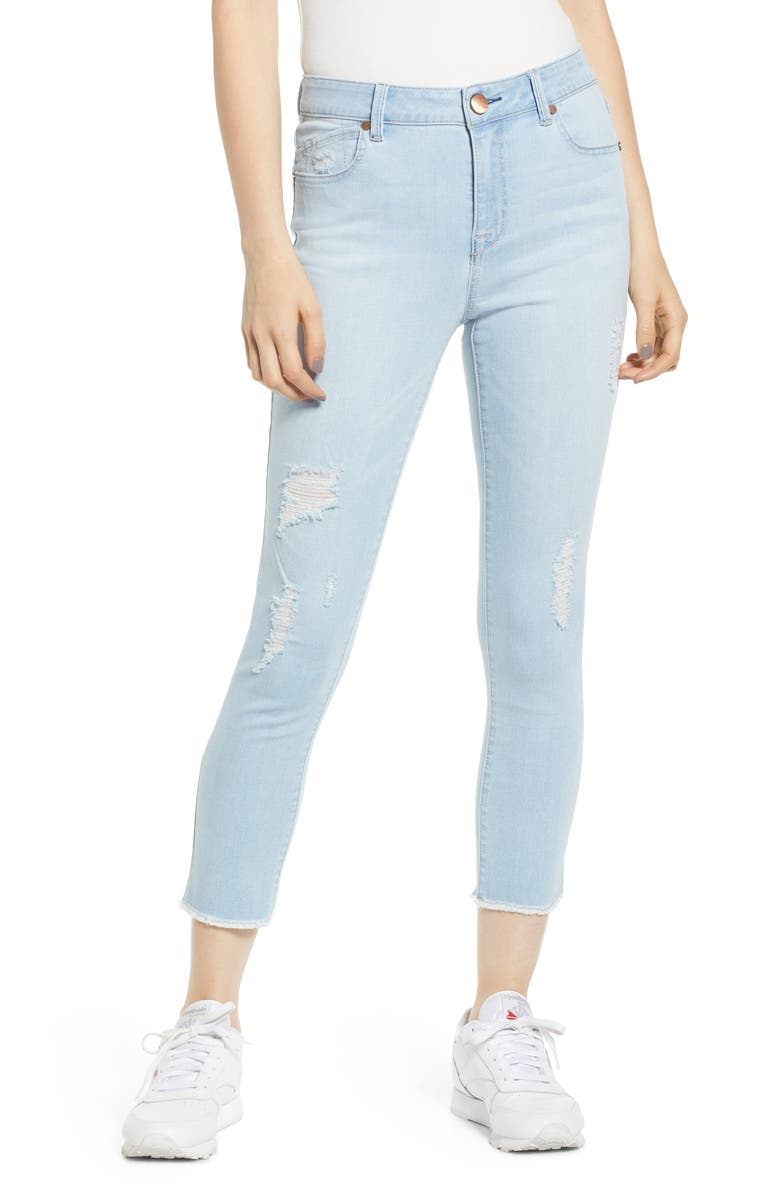1822 DENIM Distressed High Waist Crop Jeggings, Main, color, AVERY LIGHT WASH