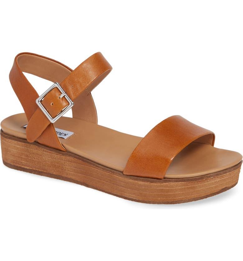 STEVE MADDEN Aida Platform Sandal, Main, color, COGNAC LEATHER
