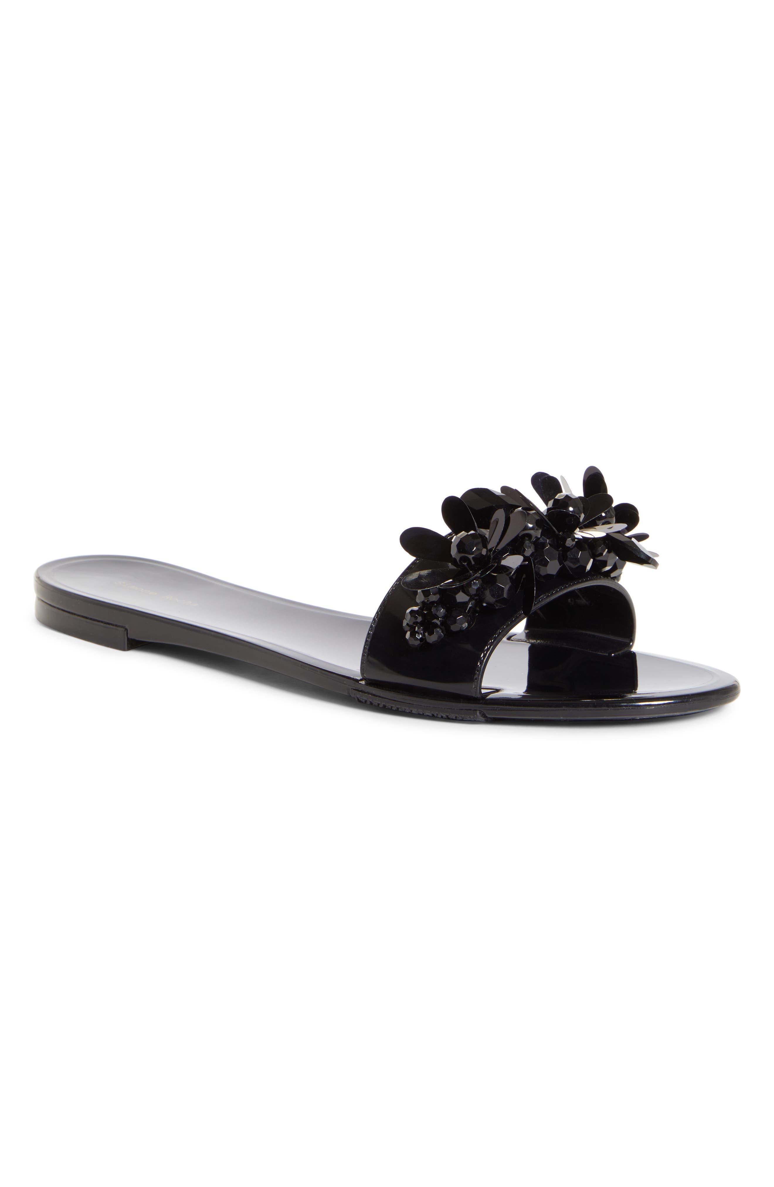 Simone Rocha Embellished Jelly Slide Sandal, Black