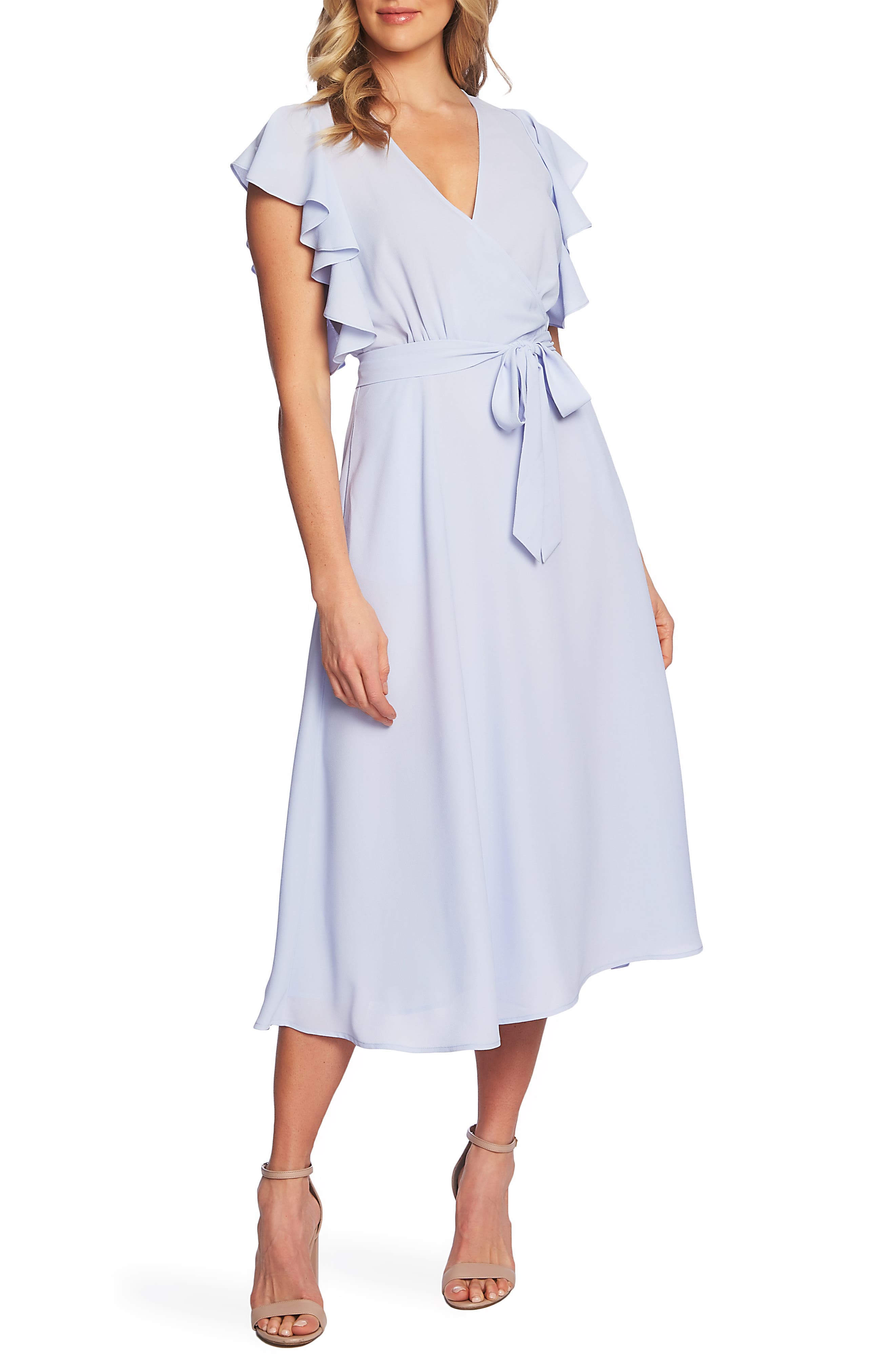 1.state Ruffle Detail Wrap Midi Dress, Blue
