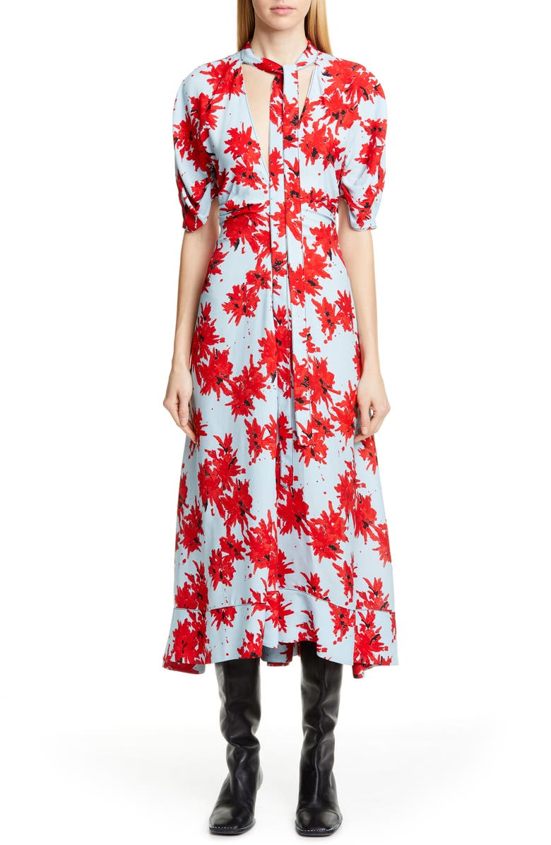 PROENZA SCHOULER Floral Tie Neck Georgette Midi Dress, Main, color, RED/ BABY BLUE SPLATTER