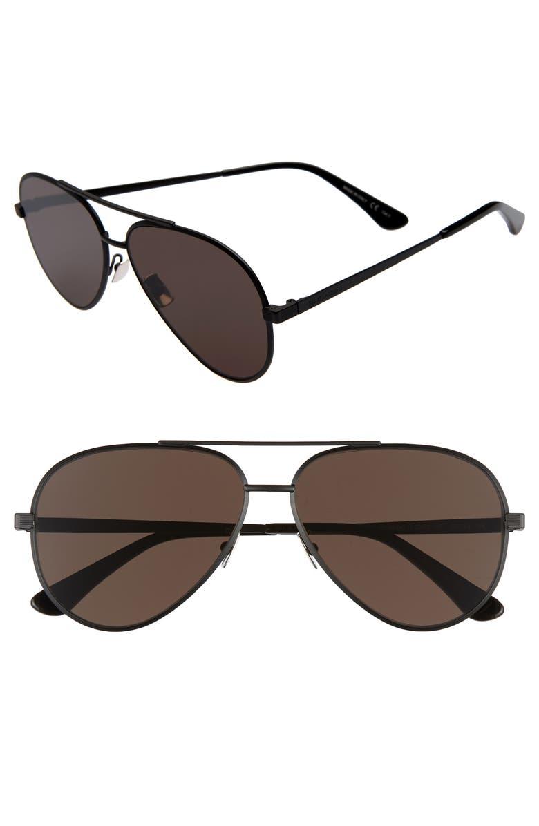 SAINT LAURENT Classic 60mm Aviator Sunglasses, Main, color, BLACK