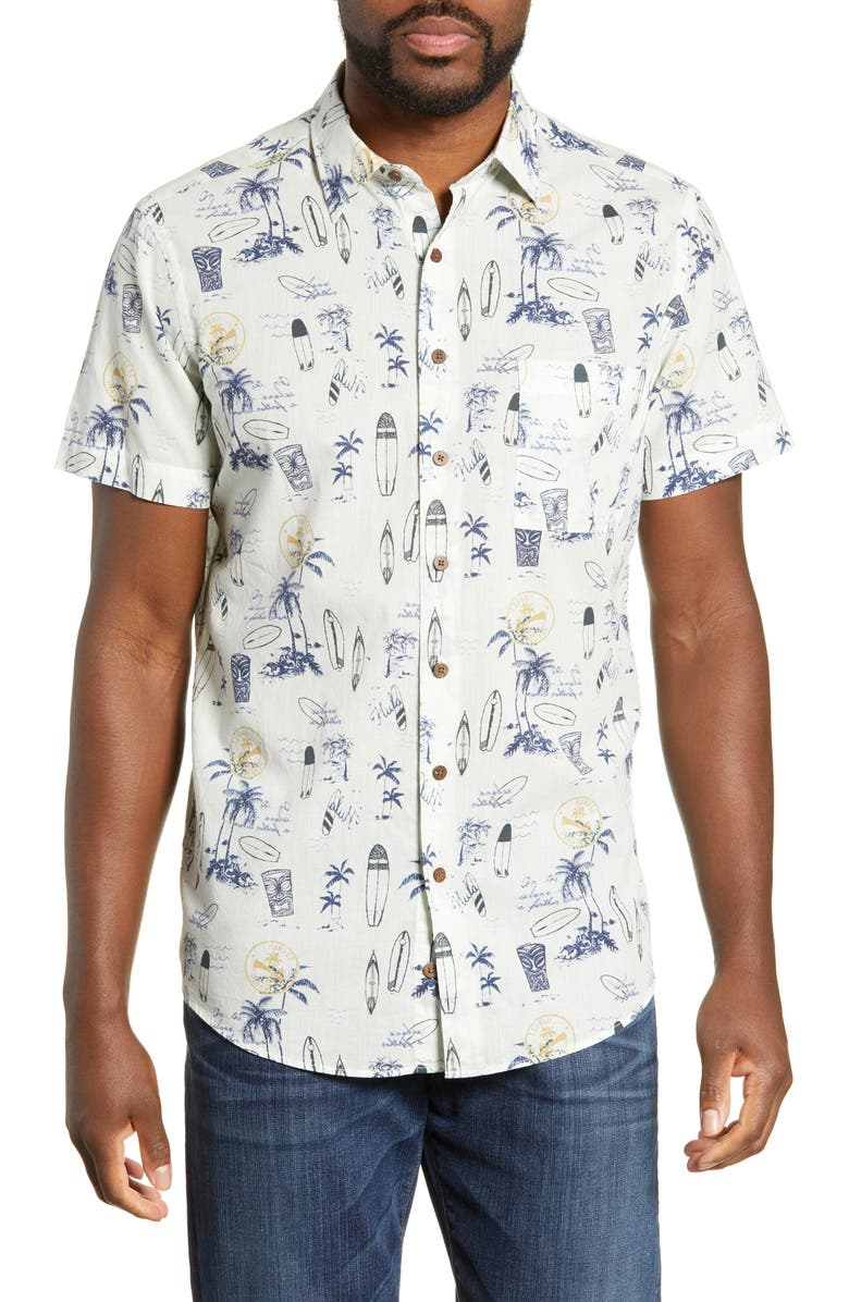 RODD & GUNN Andrewville Regular Fit Print Shirt, Main, color, NATURAL