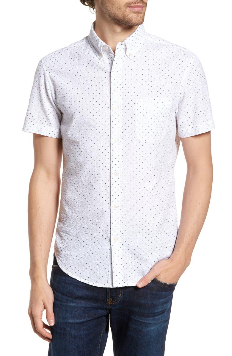 BONOBOS Riviera Slim Fit Dot Print Sport Shirt, Main, color, SEERSUCKER BLUE DOT