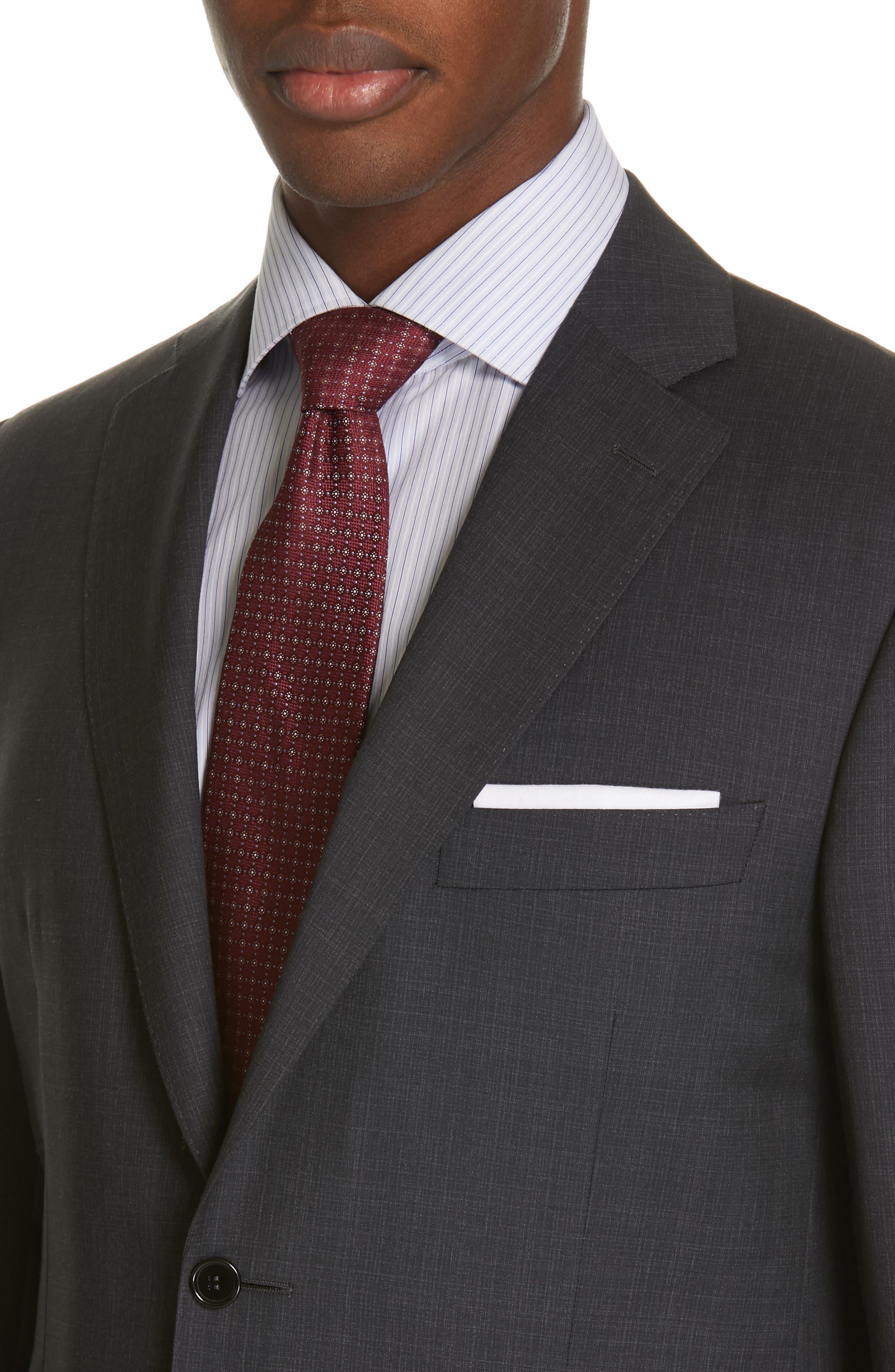 ,                             Siena Classic Fit Solid Super 130s Wool Suit,                             Alternate thumbnail 4, color,                             BLACK