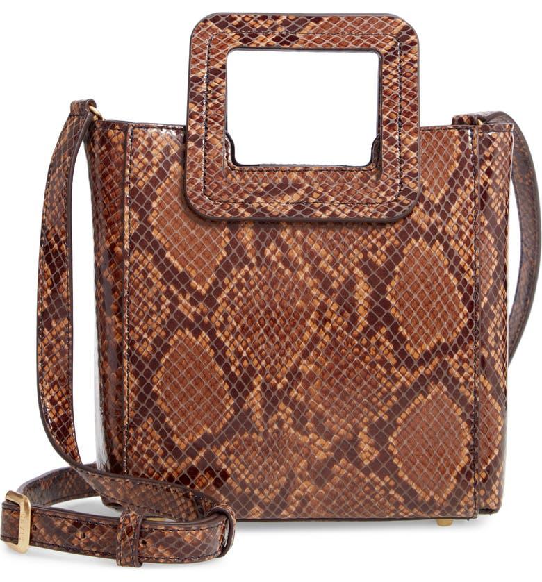 STAUD Mini Shirley Snake Embossed Leather Bag, Main, color, CARAMEL