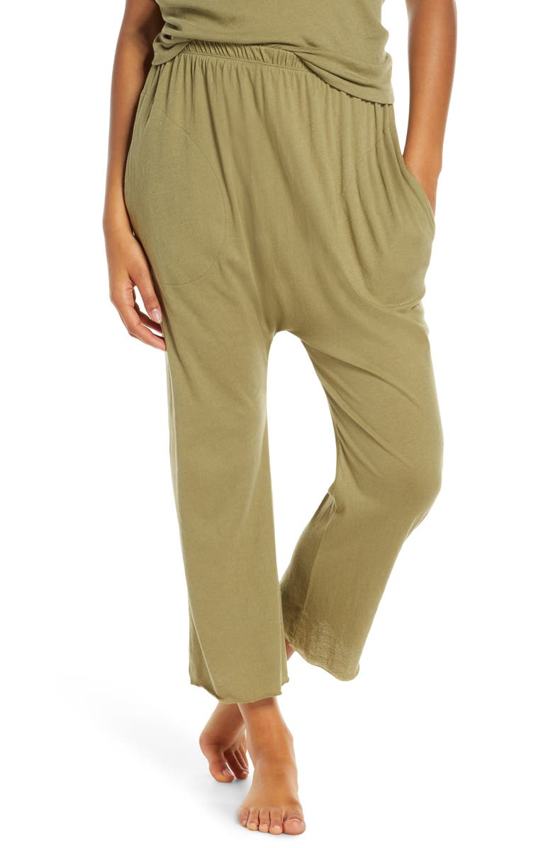 THE GREAT. The Lounge Cotton Crop Pants, Main, color, ARMY GREEN