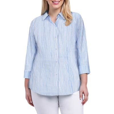 Plus Size Foxcroft Sue Crinkle Mixed Gingham Shirt, Blue