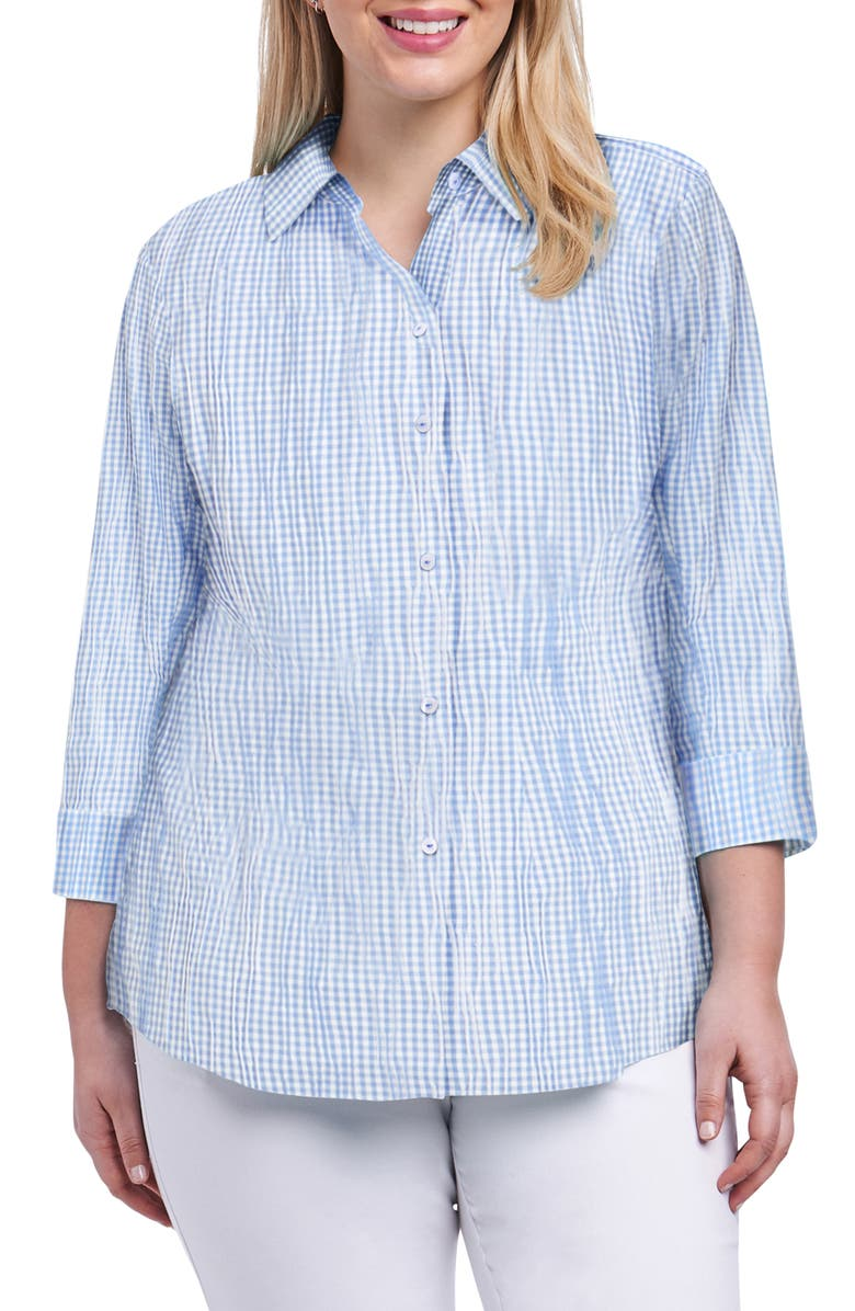 FOXCROFT Sue Crinkle Mixed Gingham Shirt, Main, color, PERFECT PERI