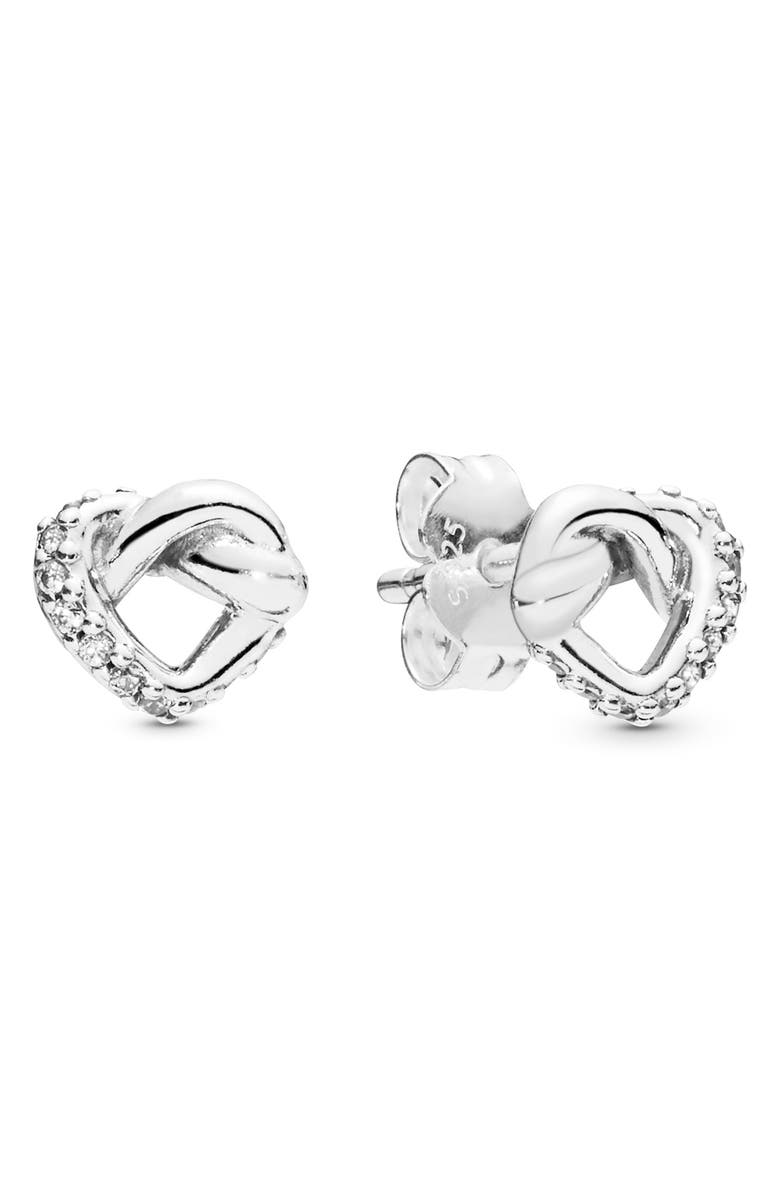 PANDORA Knotted Hearts Stud Earrings, Main, color, 040