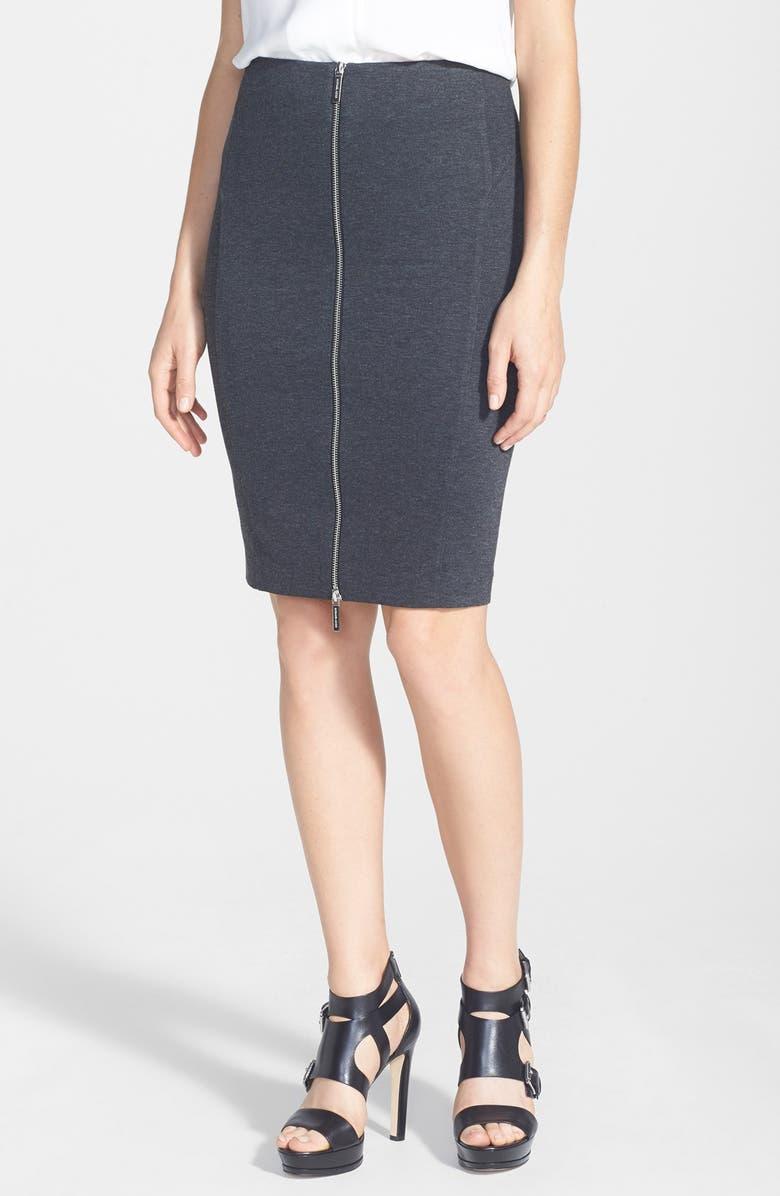 MICHAEL MICHAEL KORS Front Zip Seamed Skirt, Main, color, 063