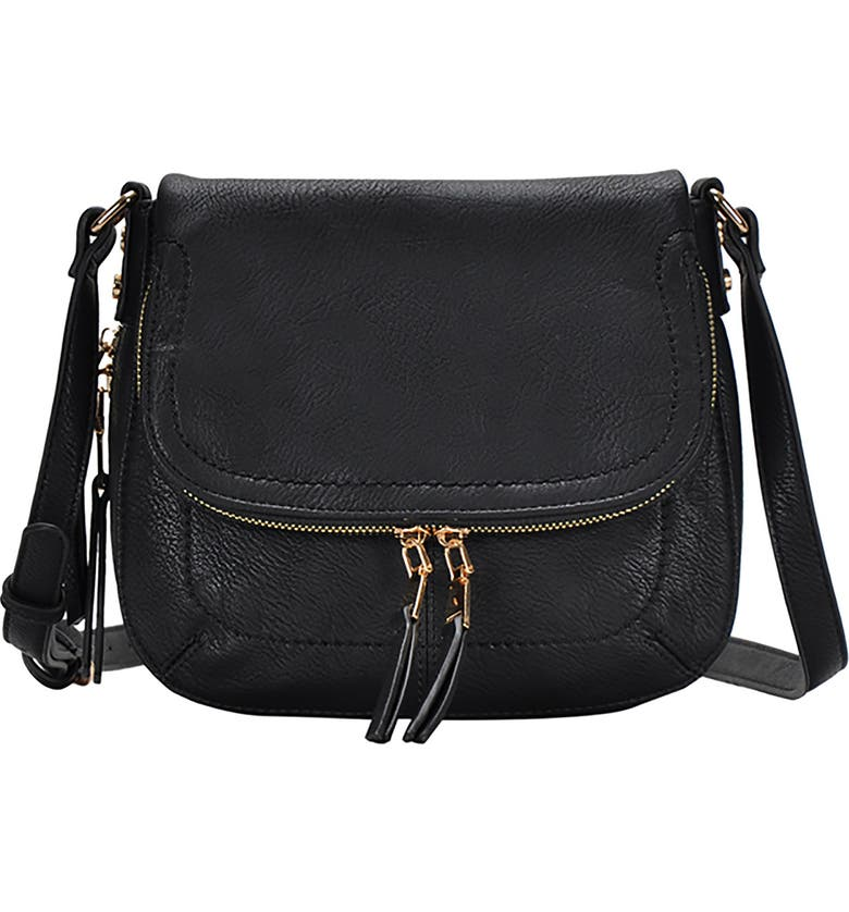 ANTIK KRAFT Faux Leather Crossbody Bag, Main, color, BLACK