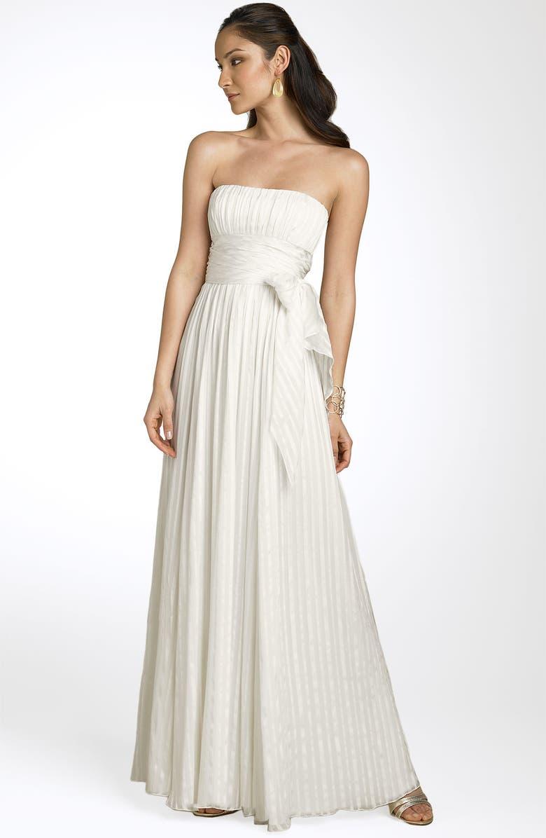 BCBGMAXAZRIA Strapless Silk Gown, Main, color, 500
