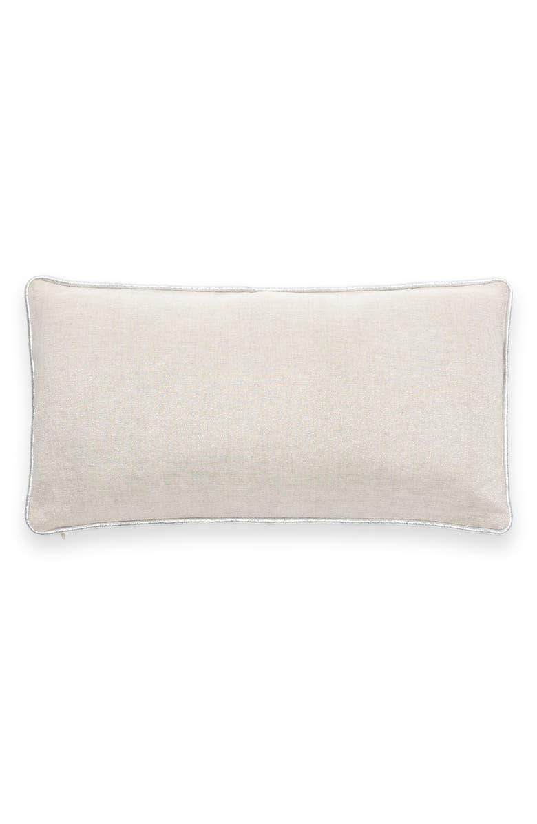KATE SPADE NEW YORK metallic linen blend accent pillow, Main, color, NATURAL