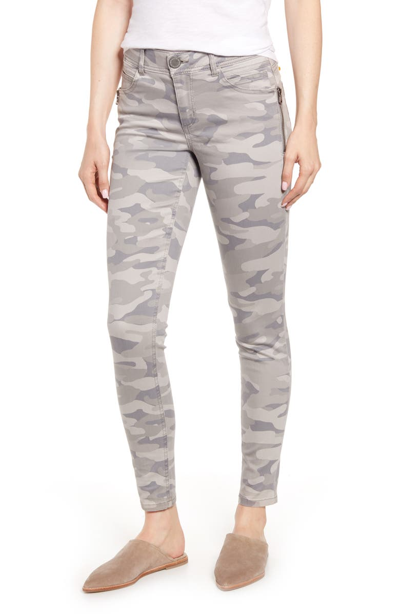 WIT & WISDOM AB-SOLUTION CAMO SIDE ZIP JEGGINGS, Main, color, SAND