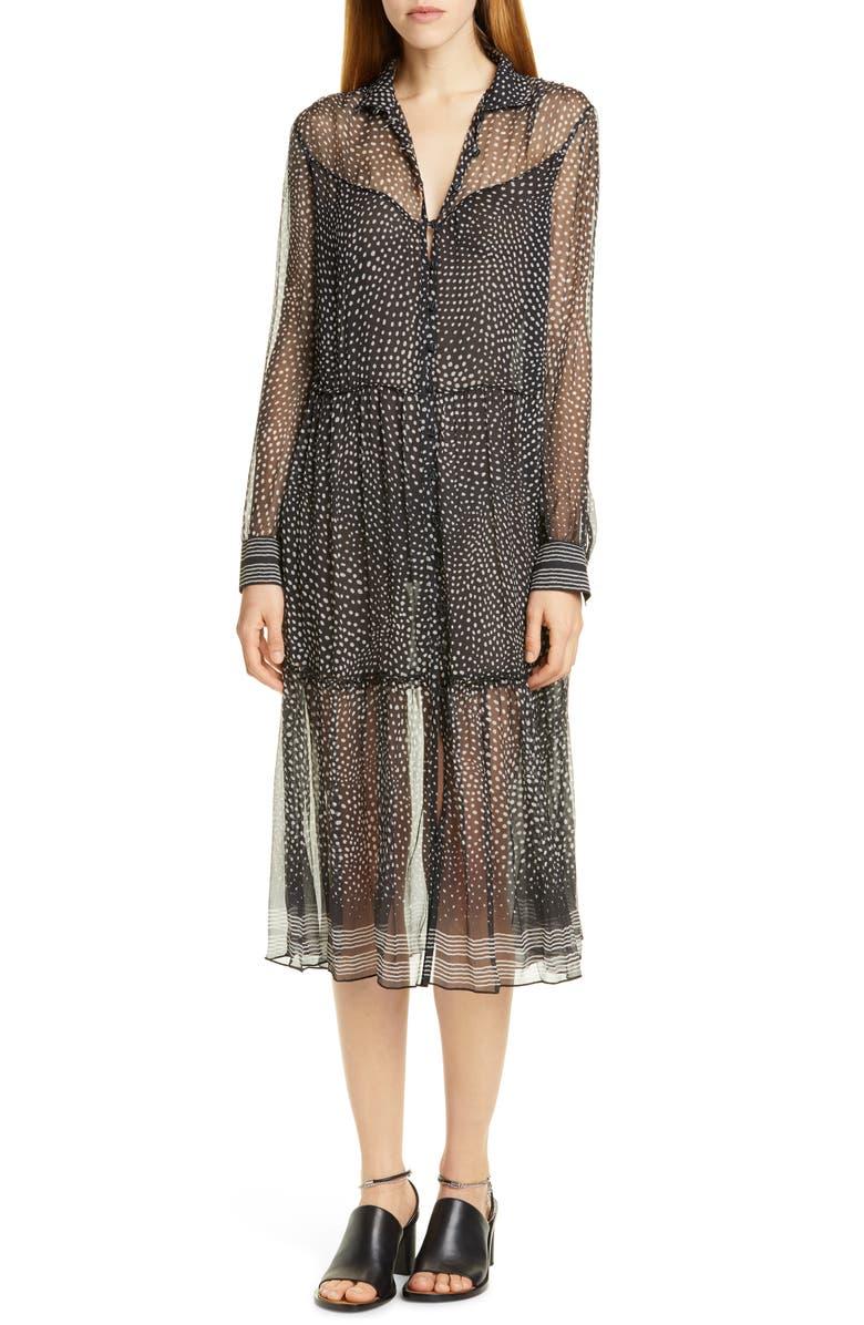 RAG & BONE Libby Polka Dot Silk Midi Dress, Main, color, 001