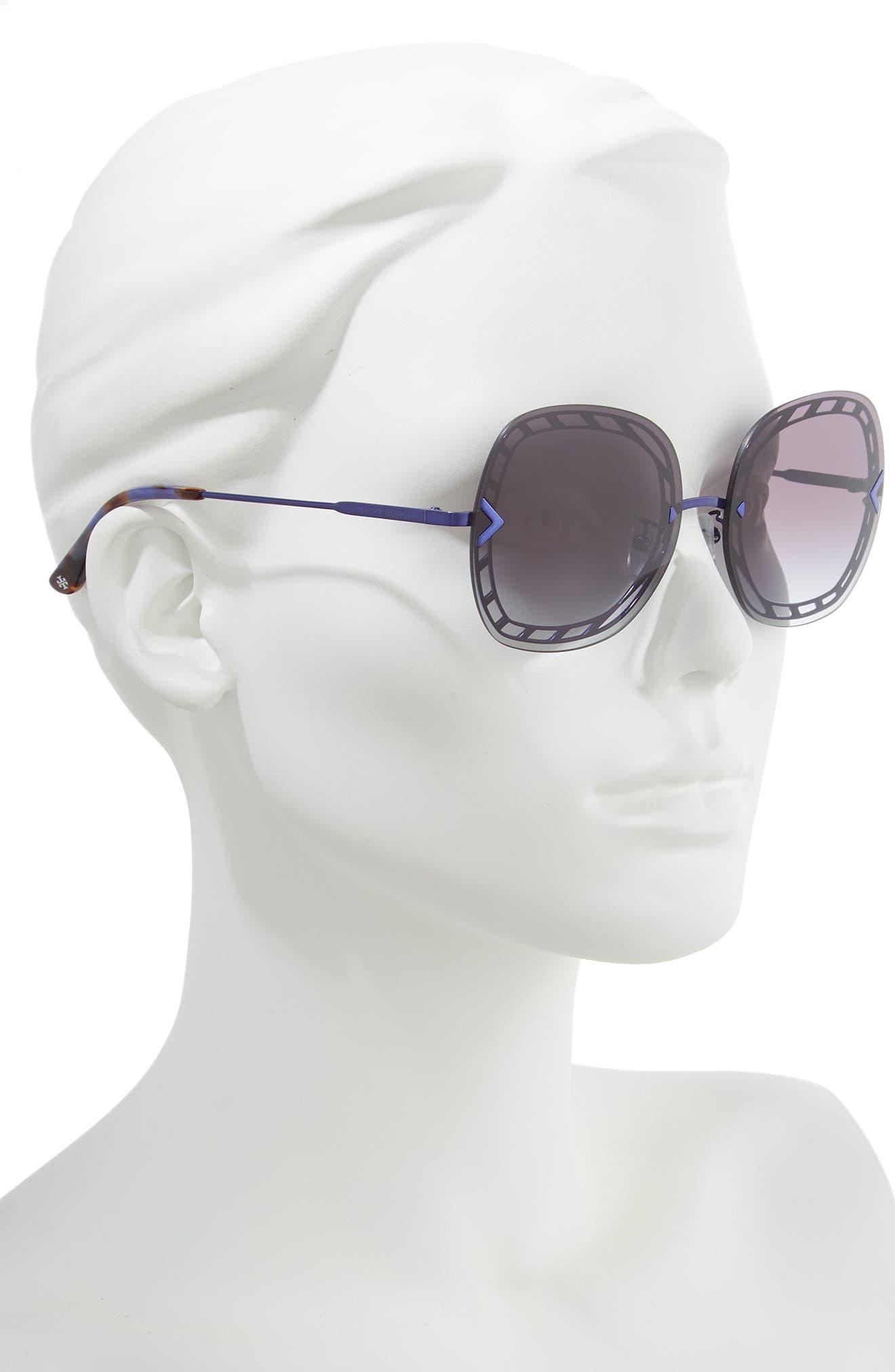 ,                             58mm Gradient Square Sunglasses,                             Alternate thumbnail 2, color,                             001