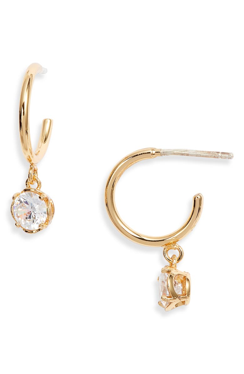 KATE SPADE NEW YORK mini stone huggie hoop earrings, Main, color, CLEAR/ GOLD