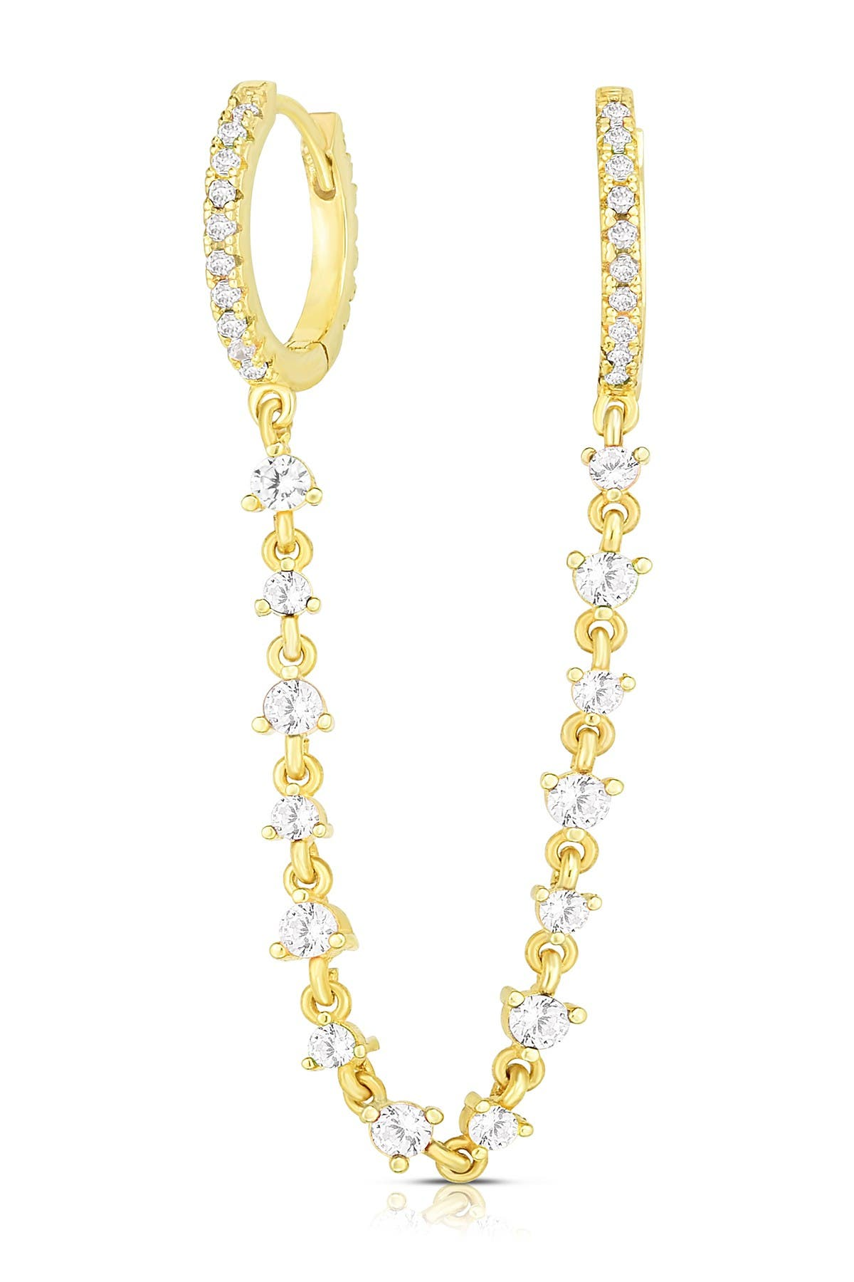 Image of Sphera Milano 14K Yellow Gold Plated Sterling Silver CZ Connecting Chain Huggie Earring