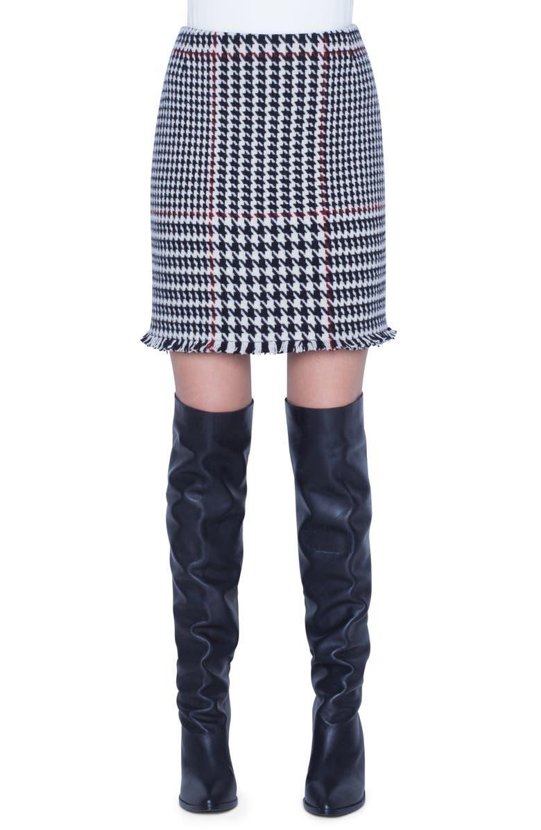 AKRIS PUNTO Glen Check Wool Blend Miniskirt, Main, color, OFFWHITE/ BLACK/ RUBY