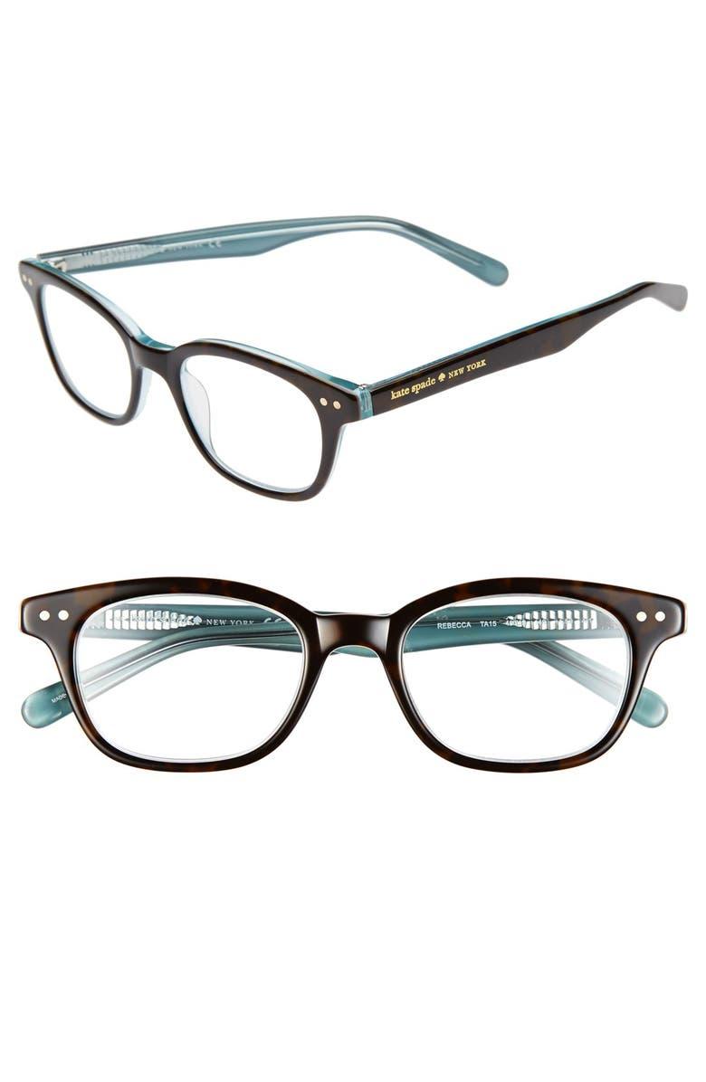 KATE SPADE NEW YORK rebecca 49mm reading glasses, Main, color, TORTOISE AQUA