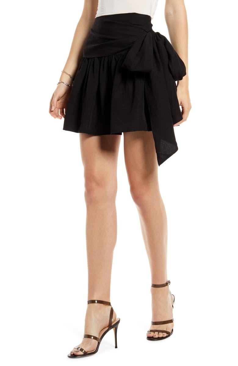 SOMETHING NAVY Ruffle Miniskirt, Main, color, BLACK