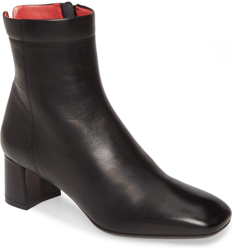 PAS DE ROUGE Chantal Leather Bootie, Main, color, BLACK LEATHER