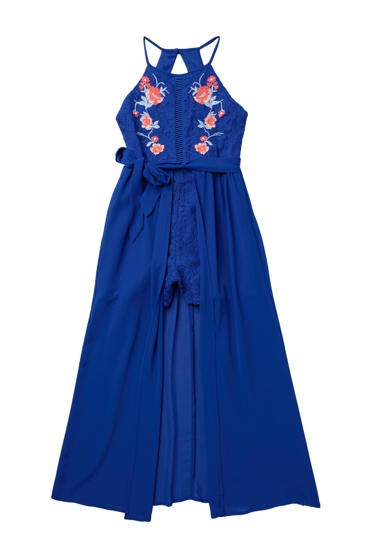 Image of mymichelle Floral Lace High/Low Maxi Romper
