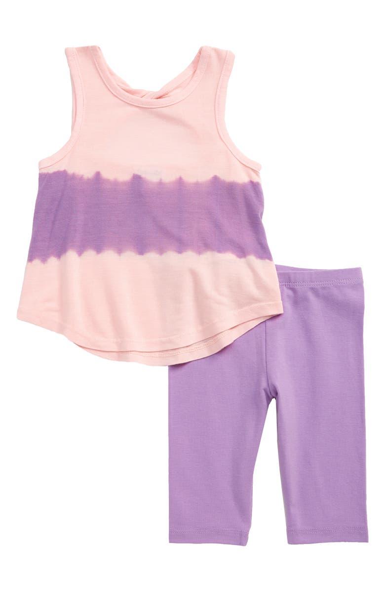 SPLENDID Tie Dye Stripe Tank & Leggings Set, Main, color, SHEER LILAC