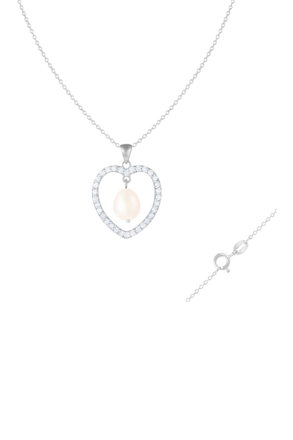 Image of Splendid Pearls 8-9mm White Freshwater Pearl & CZ Heart Pendant Necklace