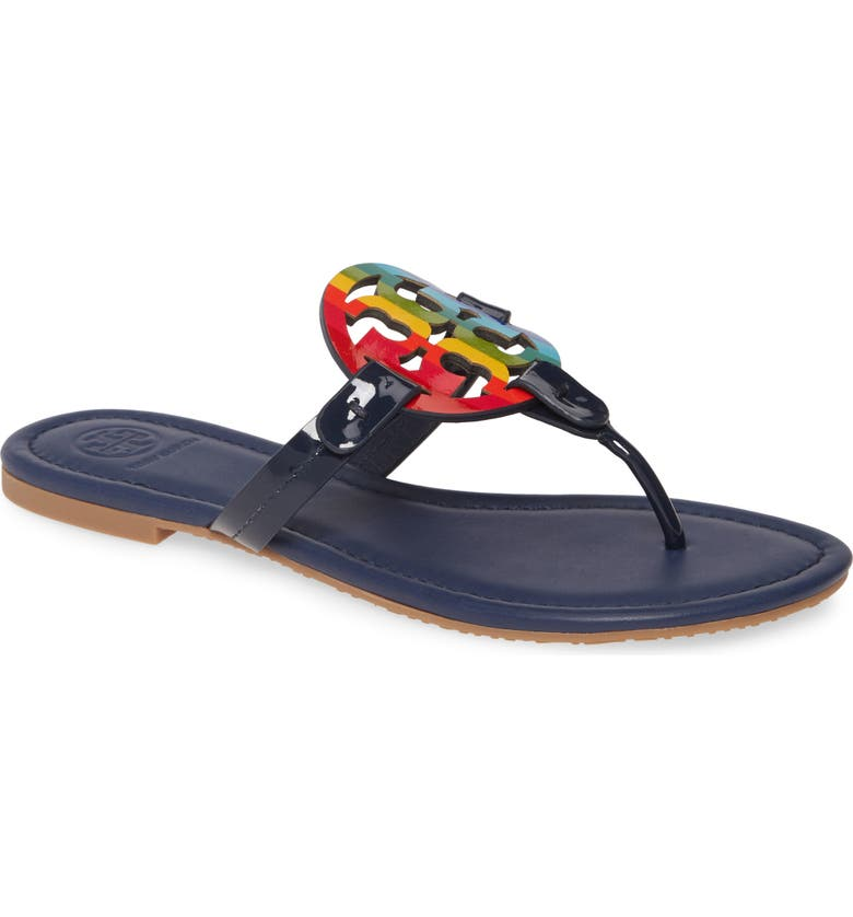 TORY BURCH Miller Flip Flop, Main, color, BRIGHT RAINBOW/ ROYAL NAVY