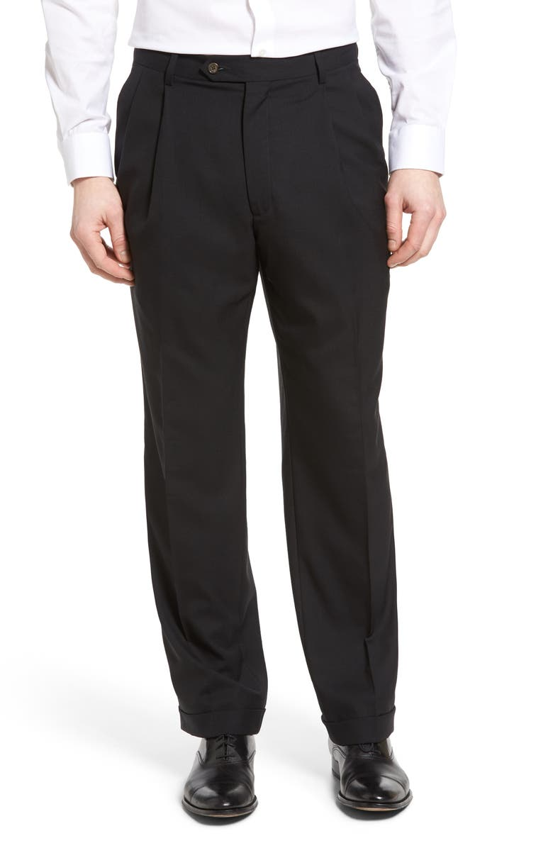 BERLE Pleated Solid Wool Trousers, Main, color, BLACK