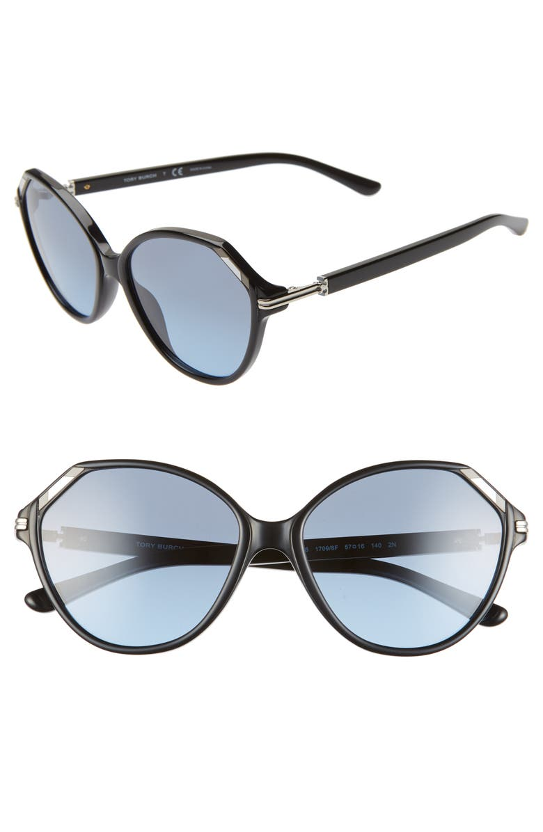 TORY BURCH 57mm Cat Eye Sunglasses, Main, color, BLACK/ BLUE GRADIENT