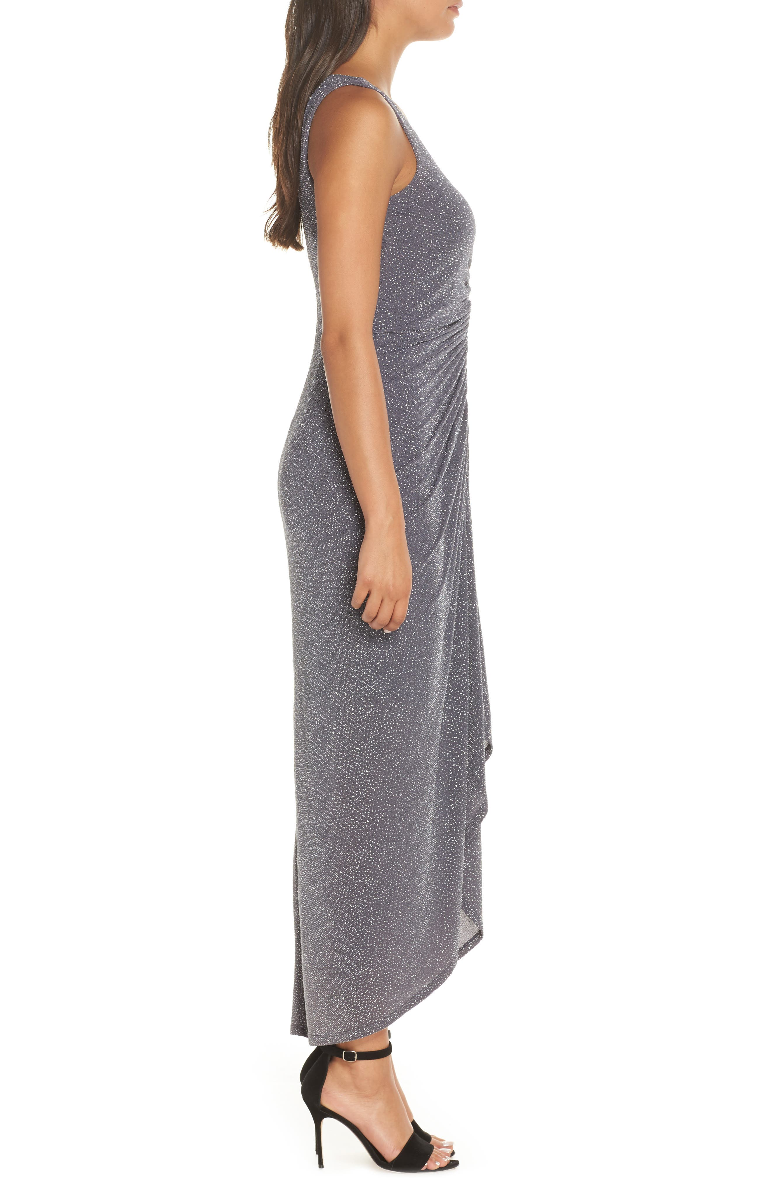 ,                             Ruched Glitter Knit Gown,                             Alternate thumbnail 4, color,                             STEEL