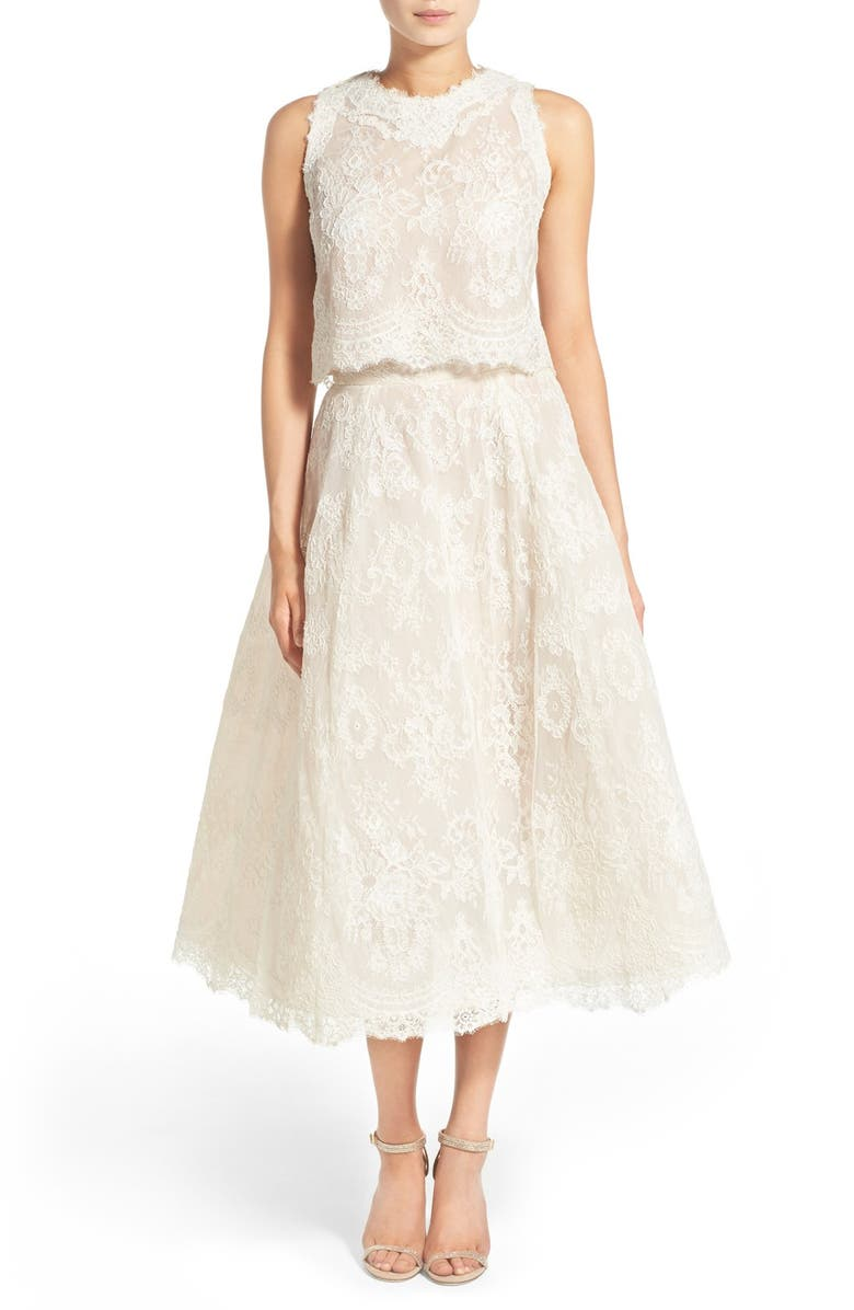 READY TO WED BLISS Monique Lhuillier 2-Pc. Embroidered Lace Dress, Main, color, 100