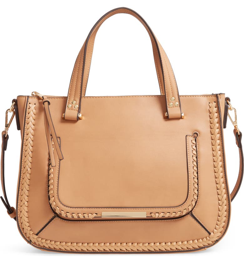SOLE SOCIETY Dayla Faux Leather Satchel, Main, color, CAMEL