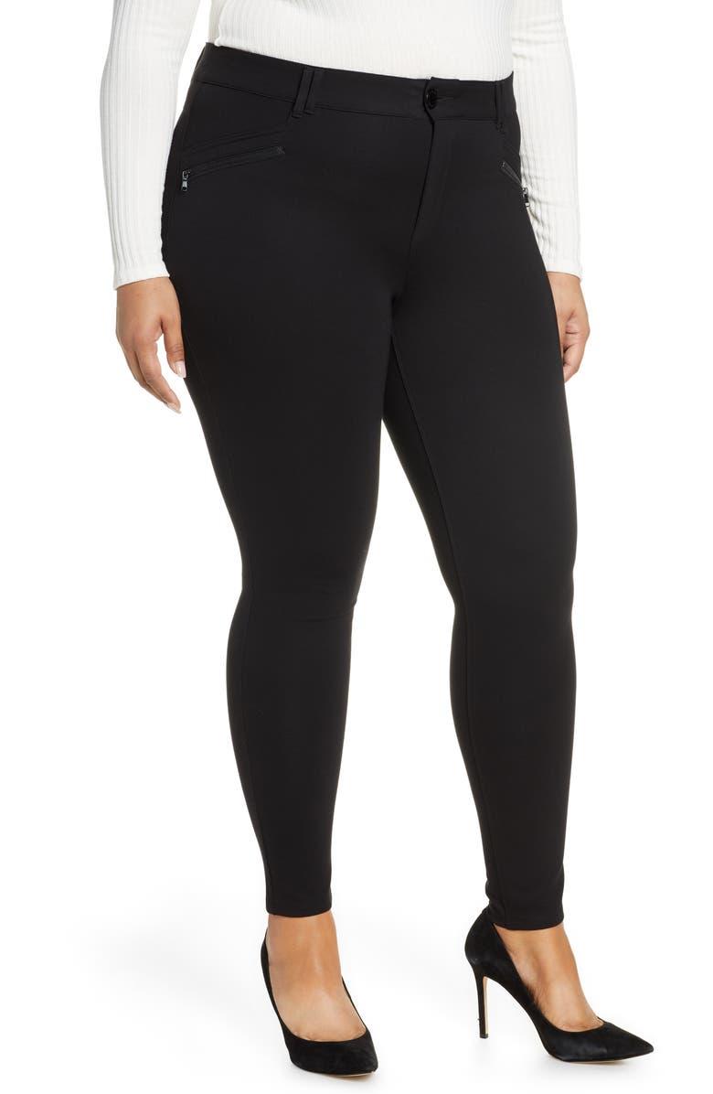 WIT & WISDOM Ab-solution Zip Pocket Skinny Pants, Main, color, NEW BLACK