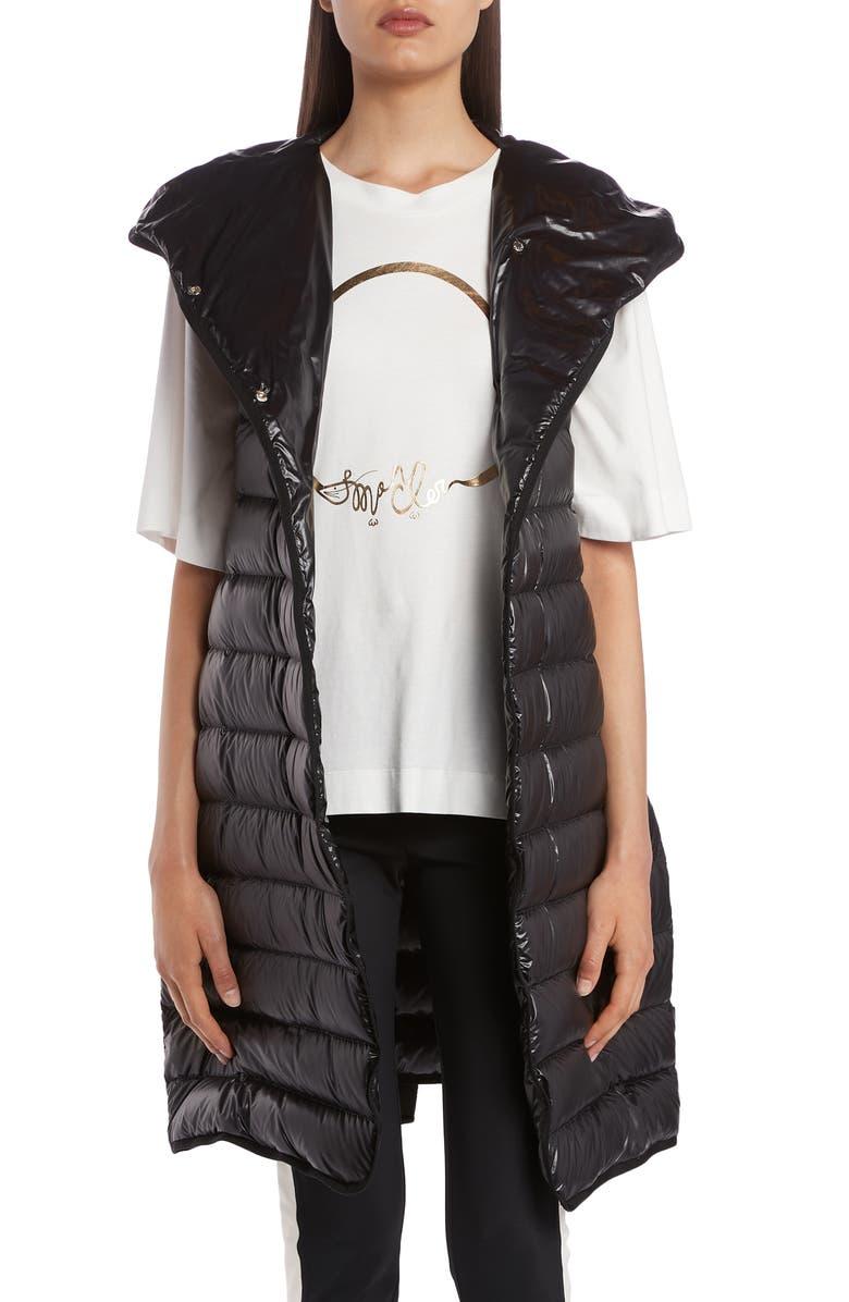 MONCLER Noisette Long Quilted Down Puffer Vest, Main, color, BLACK
