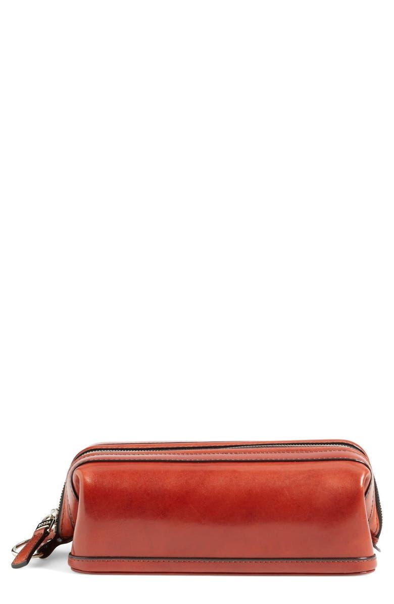 BOSCA Leather Dopp Kit, Main, color, COGNAC