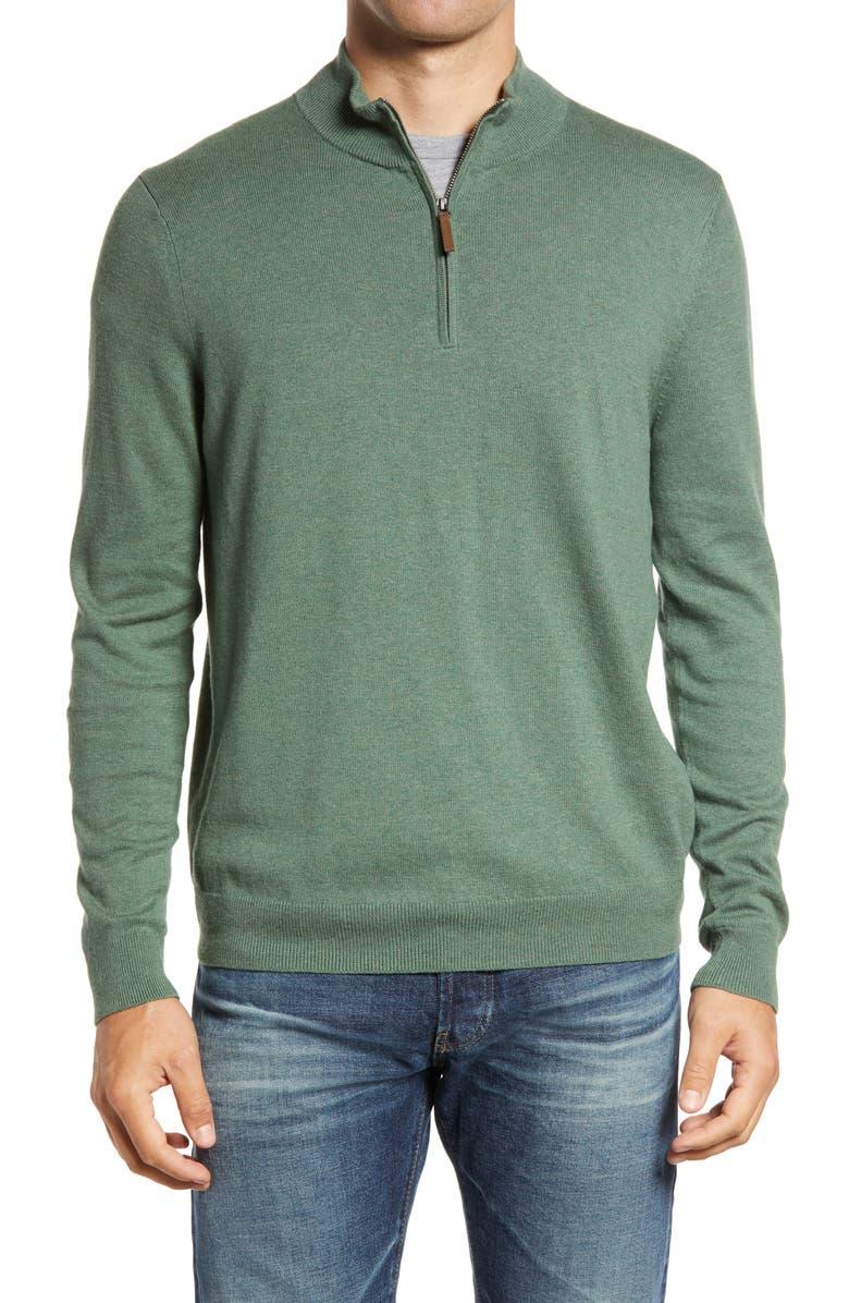 NORDSTROM MEN'S SHOP Half Zip Cotton & Cashmere Pullover, Main, color, GREEN DUCK