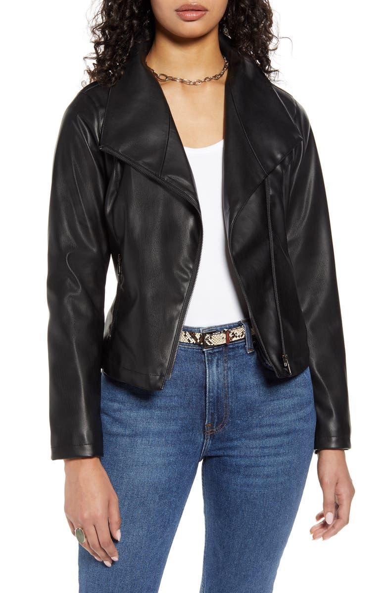 HALOGEN<SUP>®</SUP> Drape Collar Faux Leather Jacket, Main, color, BLACK