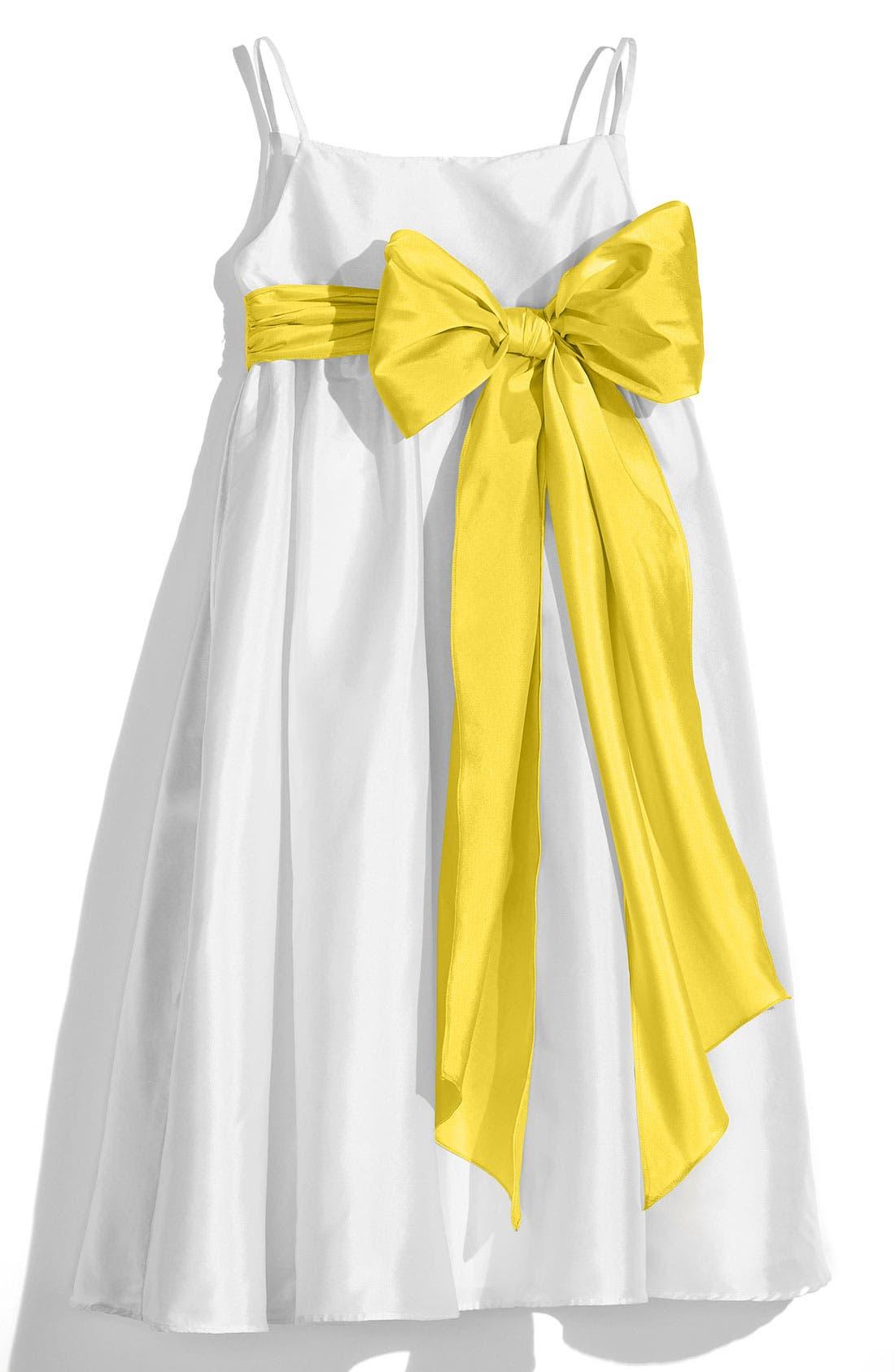 ,                             White Sleeveless Empire Waist Taffeta Dress,                             Main thumbnail 16, color,                             700