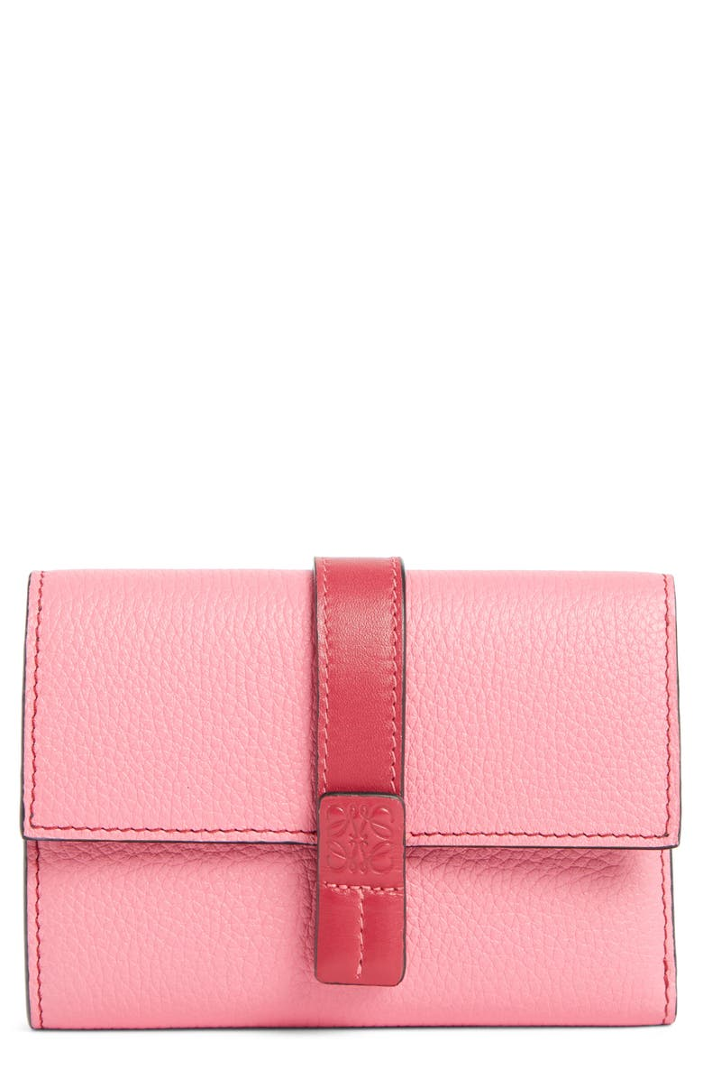 LOEWE Small Leather Wallet, Main, color, WILD ROSE/ RASPBERRY