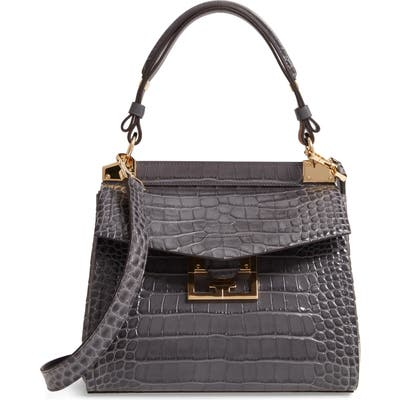 Givenchy Small Mystic Croc Embossed Leather Satchel - Grey